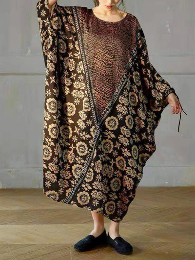 Persian Bloom Floral Silk Kaftan Dress