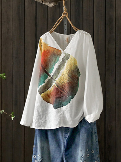 Karina Irregular Vintage V-neck Colorful Leaf Print Linen T-shirt