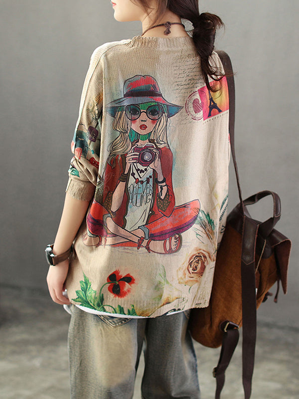 Eugenia Cartoon Portrait Printing Knit Top