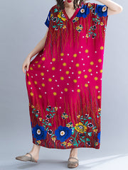 Tropical Chevron Vibrant Color Kaftan Maxi Dress