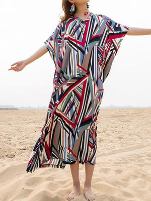 Straw Geometric Kaftan Dress