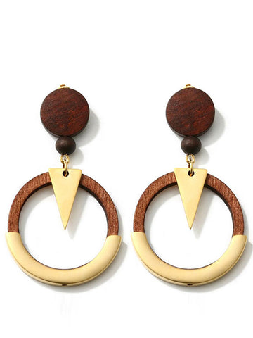 Wood Hoop Round Triangle Touch Earrings