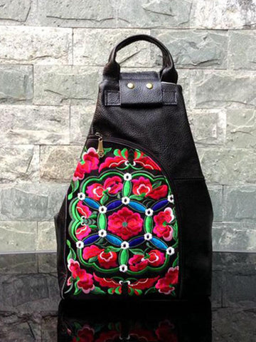 Leather Embroidered Ethnic Backpack
