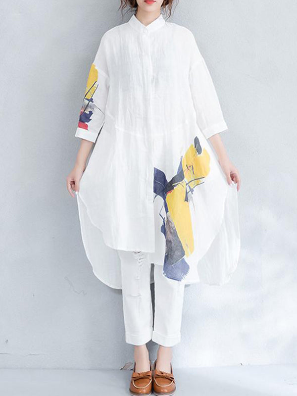 Abstract Art Asymmetrical Shirt Dress