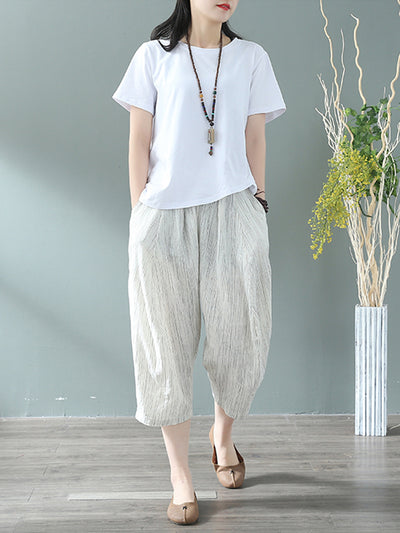 Alma Nueve Cotton & Linen Cropped Trouser