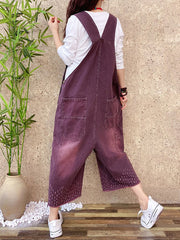 Marion Dara Cotton Cropped Overalls Dungarees