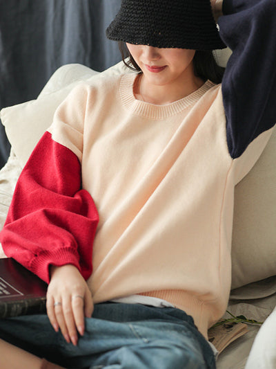Patchwork Sleeve Loose Sweater
