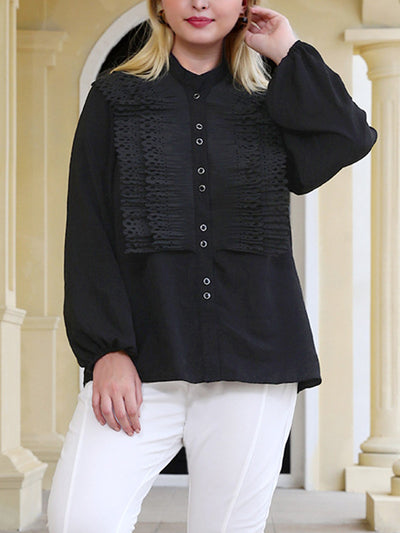 Get Button With It Solid Color Plus Shirt