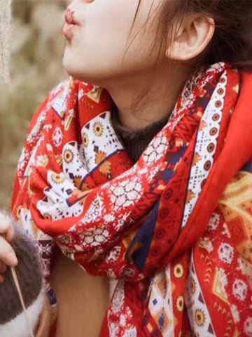 Ethnic Print Cotton Shawl