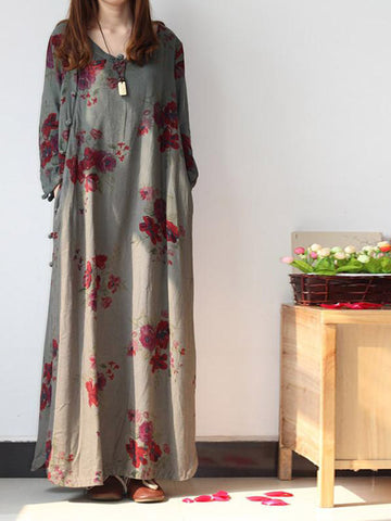 Scarlet Flower & Cheongsam Maxi Dress