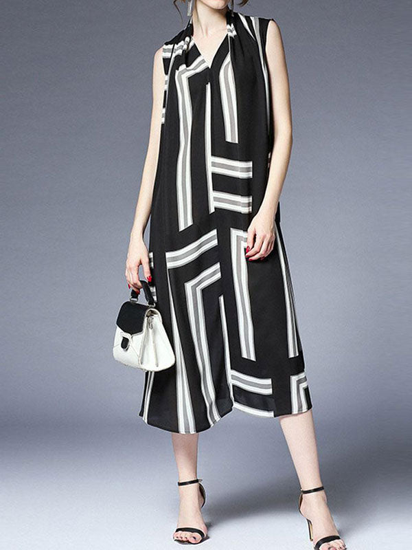 Heavy Stripe Midi Dres