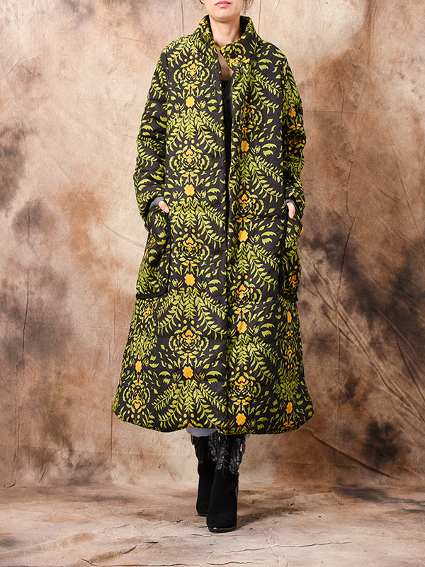 Stand Neck Thicken Cotton Overcoat with Floral Prints