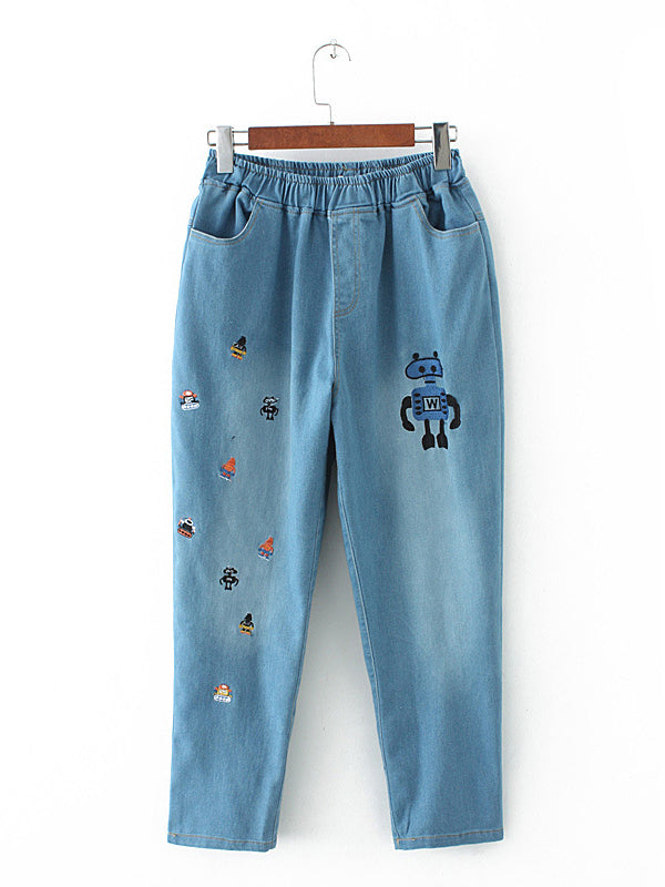 Embroidered Robots High Waist Pants