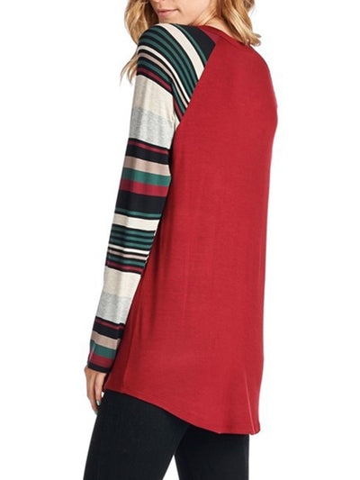 Round Neck Pullover Top with Christmas Wish