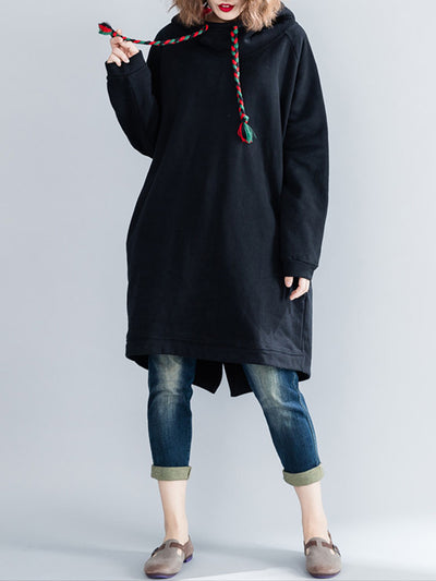 Solid Color Cotton Hooded Sweatshirt Dress