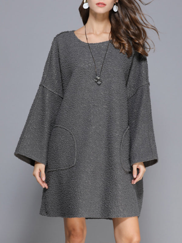 Leah Round Neck Berber Fleece Solid Color Dress with Batwing Sleeves