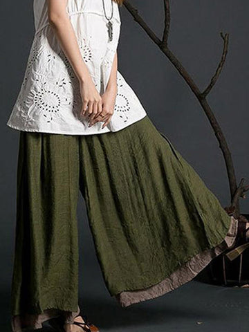 Retro Style Loose Linen Sling Wide Leg Pants