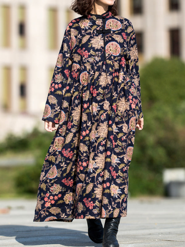 Annette Stand Neck Linen Cotton Sanding Maxi Dress with Floral Prints
