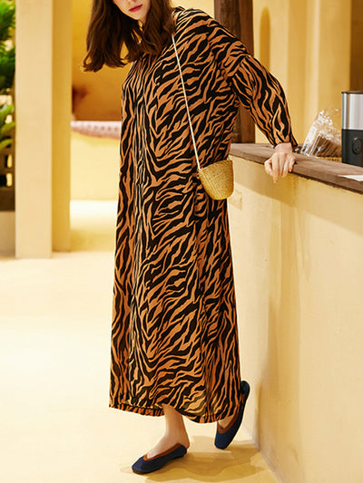 Dominica Zebra Pattern Maxi Dress