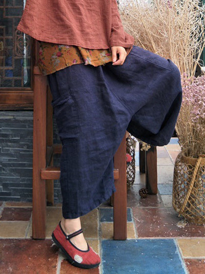 Outlined Delight Cropped Wide-Leg Linen Pants