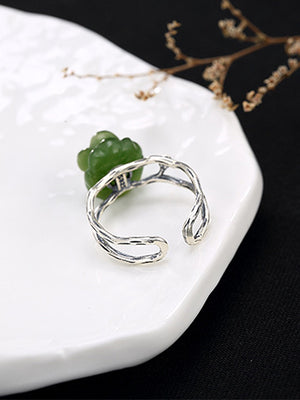 Constance Curve Skeleton Jade Open Ring with Rose Carving
