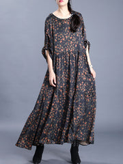 ties in the deep Floral Print Maxi Dress