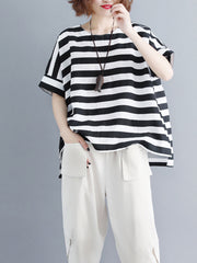 Dream for Two Lives Stripes Print Loose T-Shirt