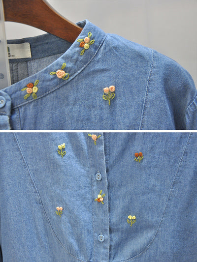Randy Stand Collar Floral Embroidered Denim Cowboy Buttoned Shirt