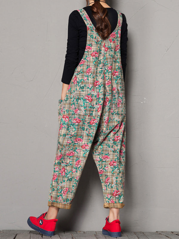 Lillie Cotton Ethnic Overall Dungarees with Plaids Floral Mixed Prints