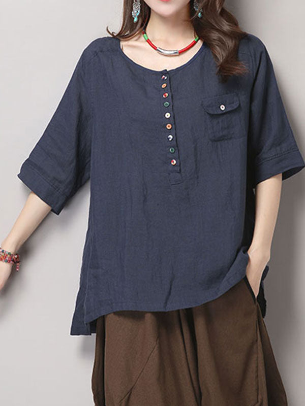 Simple Dicision Cotton Tunic T-Shirt Top