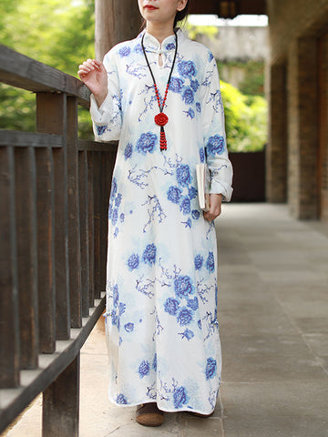 Tied Floral Pankou Style Maxi Dress