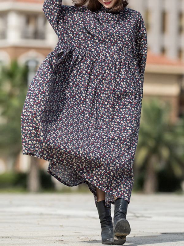 June Stand Neck Linen Cotton Sanding Maxi Dress with Shivering Prints