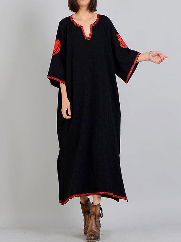 Retro Embroidered Sleeve A-Line Dress