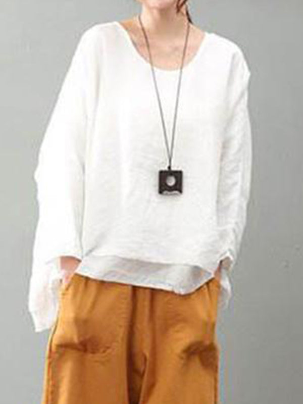Plain Irregular Loose Linen Top