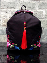 Red Tassel Embroidered Backpack