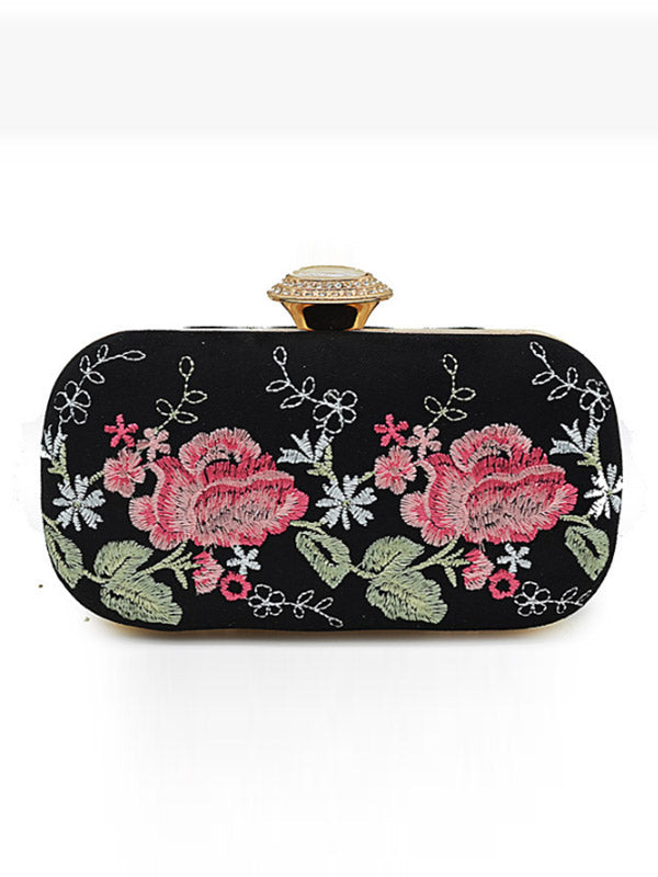 Heavy Floral Embroidered Clutch