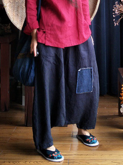 Savannah Cropped Patch Work Wide-Leg Linen Pants