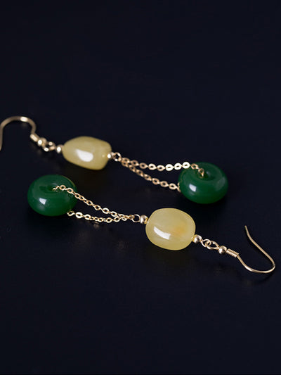 Ana Vintage Peace Buckle Silver Jade Ear Pendants in Duo Colors