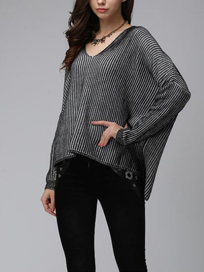Geneva Alternating Stripes Pullover Sweatshirt with Batwing Sleeves