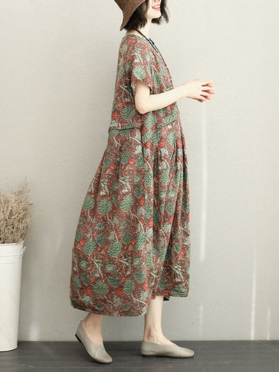 Off-Spring Rusty Linen A-Line Dress