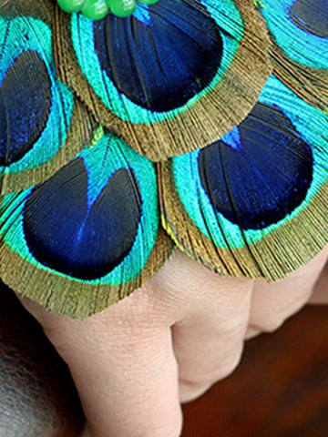 Peacock Feather Wrist Gloves