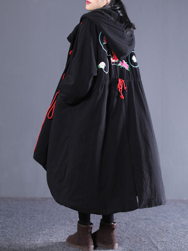Courtney Hooded Drawstring Cotton-Padded Overcoat with Floral Embroidery