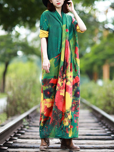 Divine and Conquer Faux-Wrap Maxi Dress