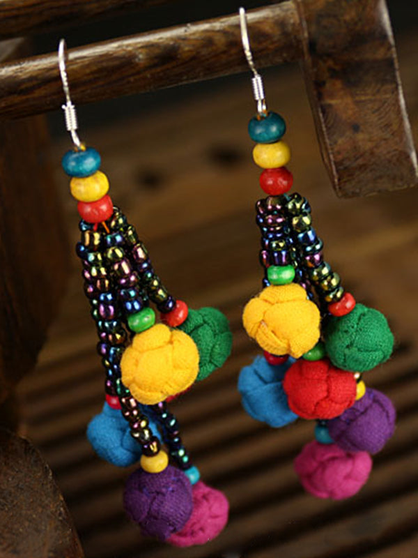 Cecilia Ethnic Tassel Bobbles Earrings