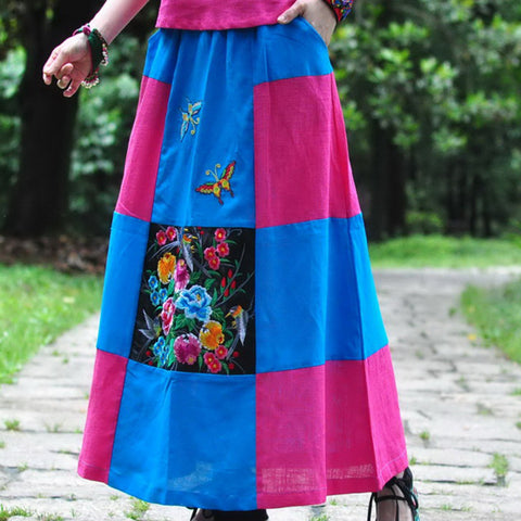 Cotton Linen Embroidered Casual Skirts - Eva Trends