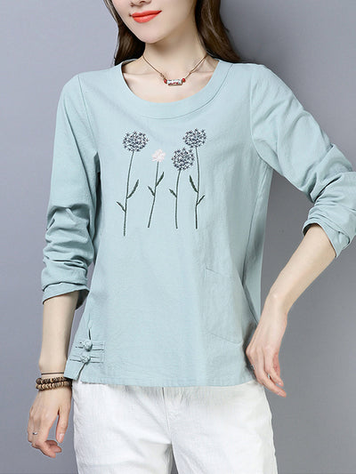 Leanne Vintage Round Neck Floral Embroidered Buttoned T-Shirts
