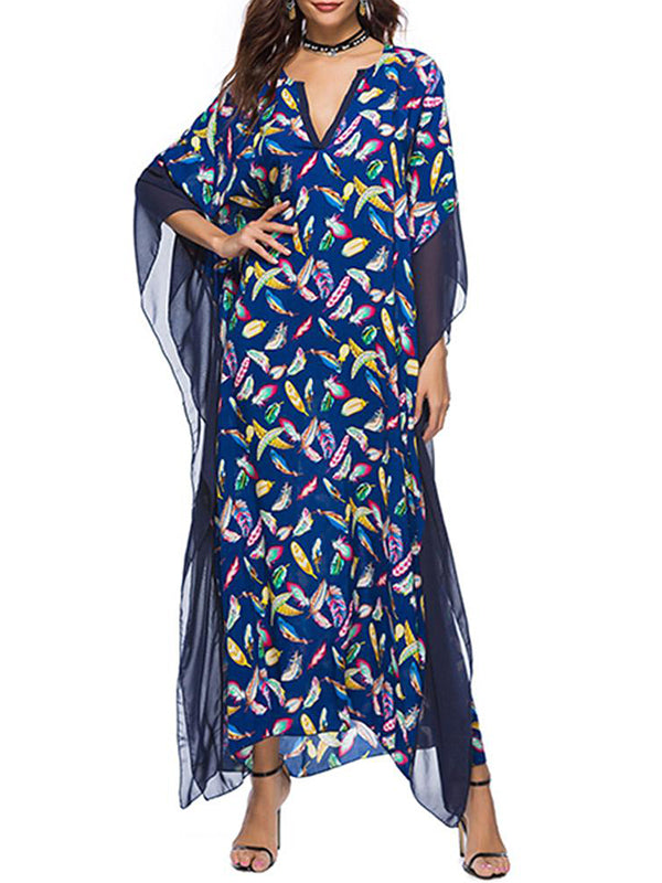 Apolonia Feather Kaftan Dress