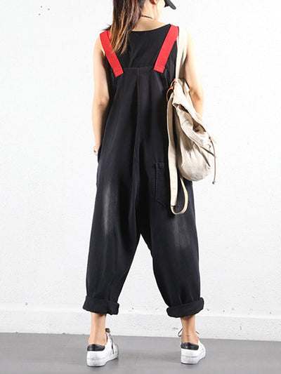 Adjustable Strap Ripped Cotton Overalls Dungarees