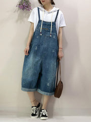 Traces Of Love Ripped Denim Romper Overall Dungarees