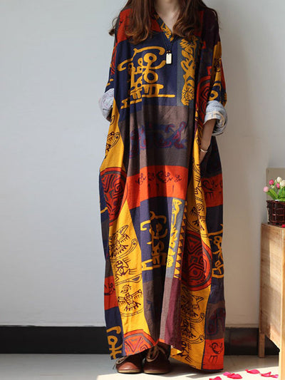 Exotic D-Harmony Printed Long Sleeves Dress